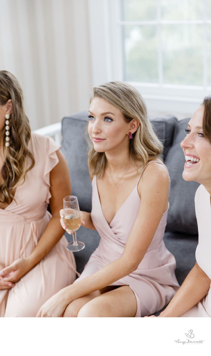 Attentive Bridesmaid with Champagne
