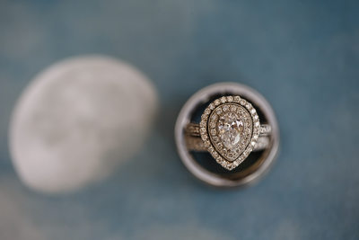 Diamond Ring With Half Moon Wedding Details