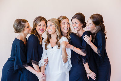 Smiling Bridesmaids in Robes