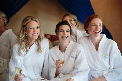 Candid Bridesmaids with Champagne