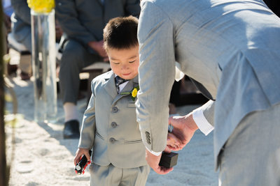Ring Bearer Gives Rings to Groom