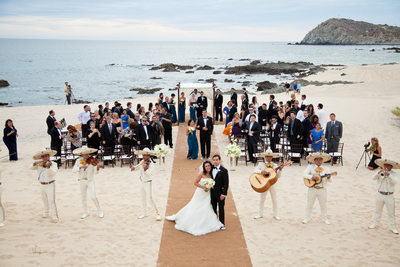Mariachi Band During Beach Wedding Recession