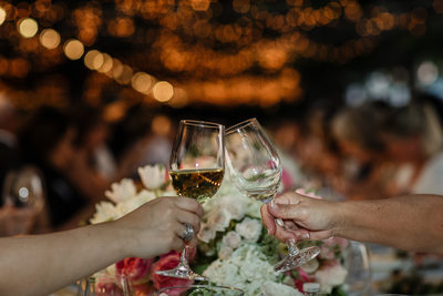 Wine Glass Wedding Reception Cheers
