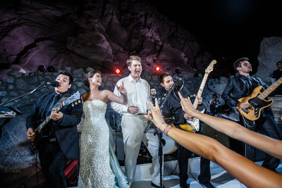 Newlyweds Sing With The Band