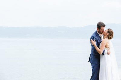 Lake Champlain Vermont Wedding Kiss