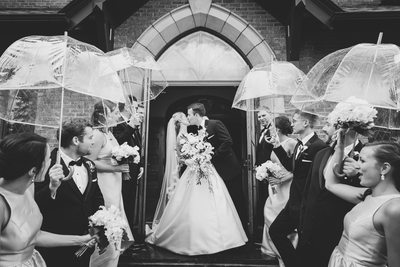 Black & White Rainy Wedding Ceremony