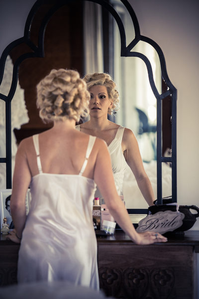 Bride with Curlers Mirror Portrait