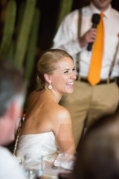 Bride Laughing During Best Man Speech