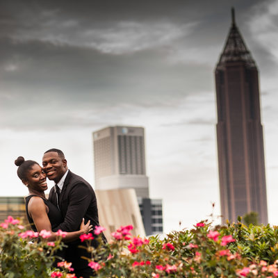 Dramatic Downtown Atlanta Engagement Photos