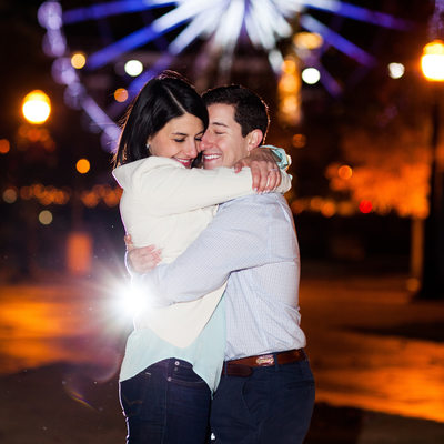 Centennial Olympic Park Night Engagement Photography