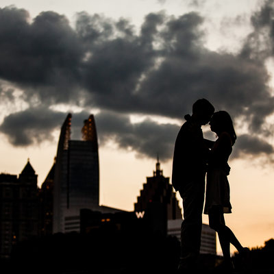 Sunset Atlanta Skyline Engagement Photography