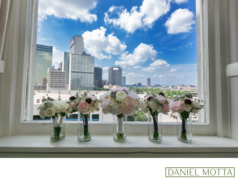 Bridal Bouquets with Dallas Skyline in Background