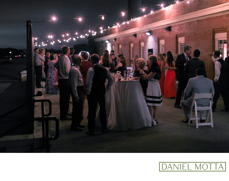 Outdoor Wedding Photograph of People During Reception