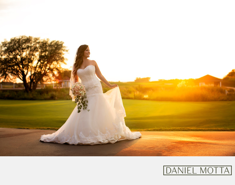 Sunset Bridal Portrait at Tribute Golf Club the Colony