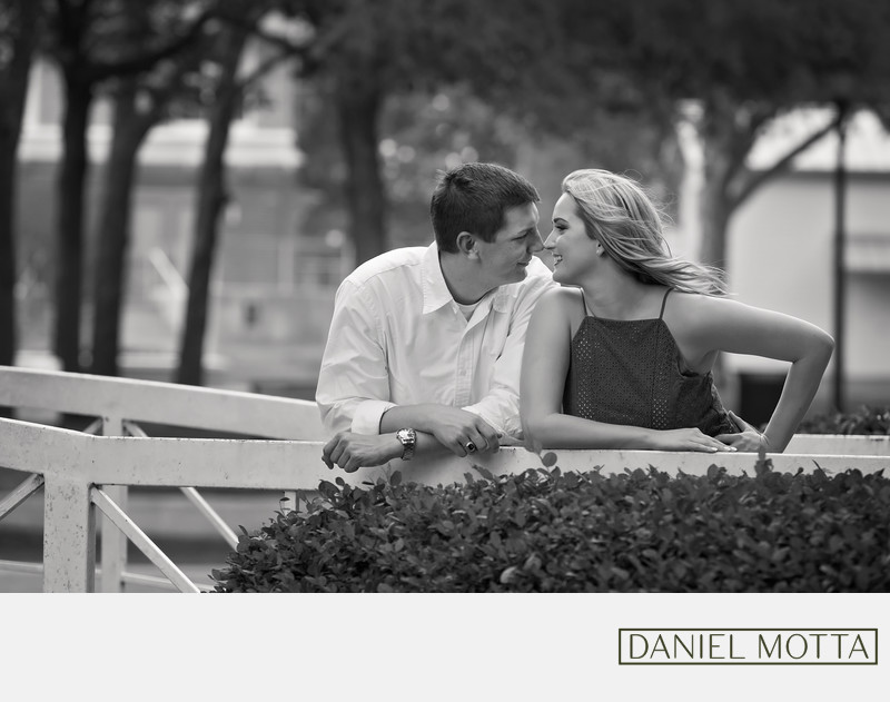 Black and White Photography of Couple's Engagement