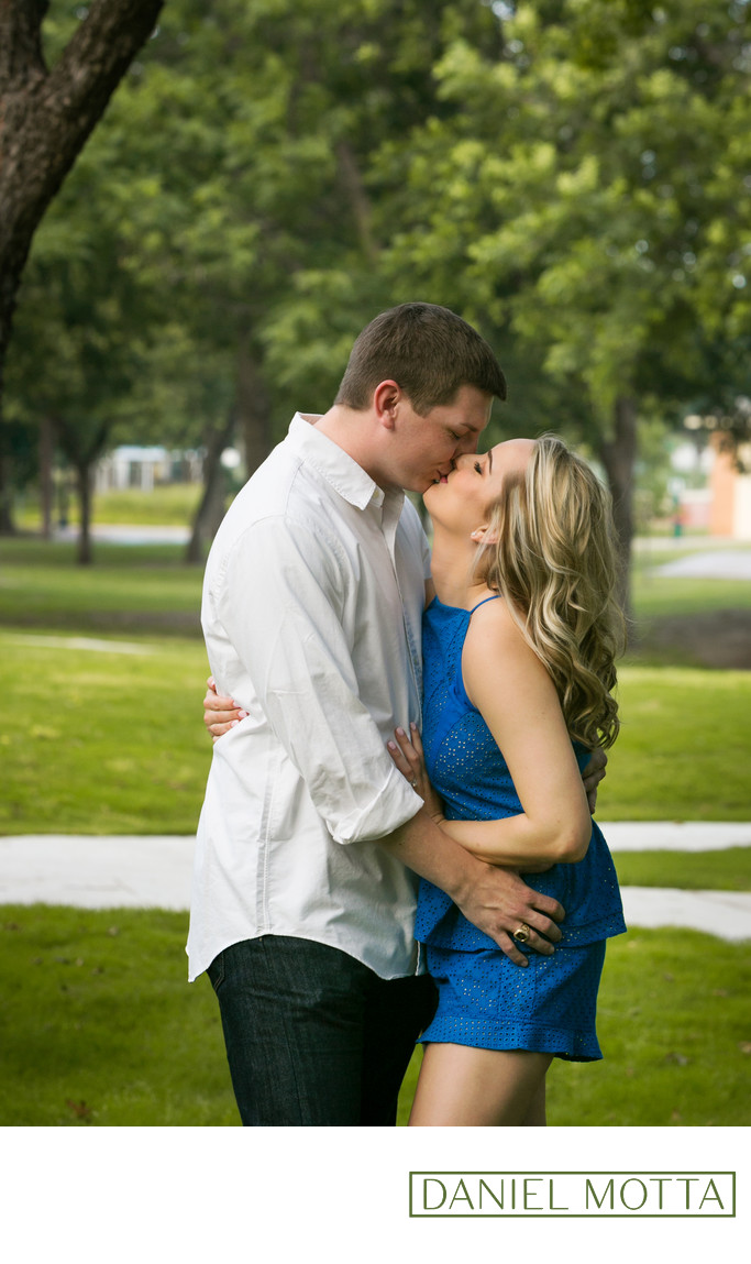 Photograph of Couple Kissing for Engagement in Plano