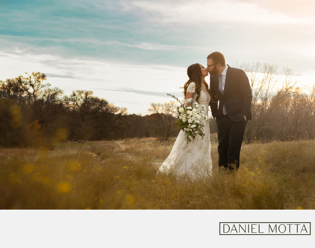Photograph of Couple Kissing at Arbor Hills Wedding
