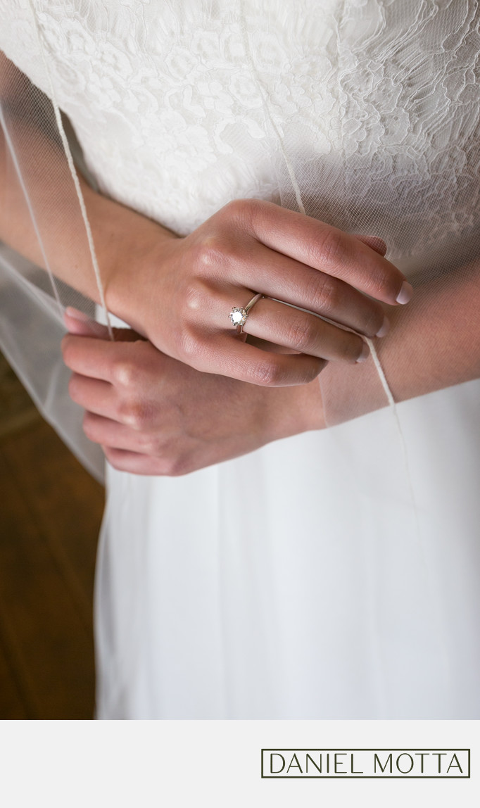 Wedding Photograph of Brides Ring and Veil in Azle