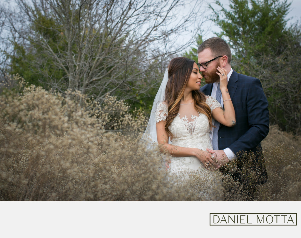 Romantic Moment for Bride and Groom at Arbor Hills