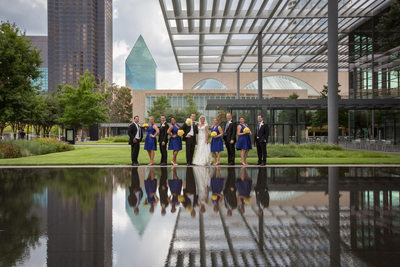 Wedding Photo of Bridal Party at Dallas Reflection Pool