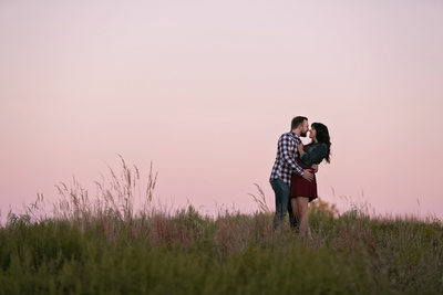 Engagement Photo of Couple at Sunset