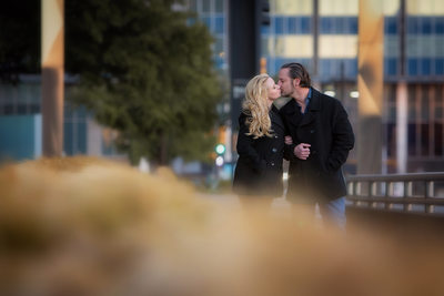 Urban Engagement Photo of Couple Kissing in Dallas