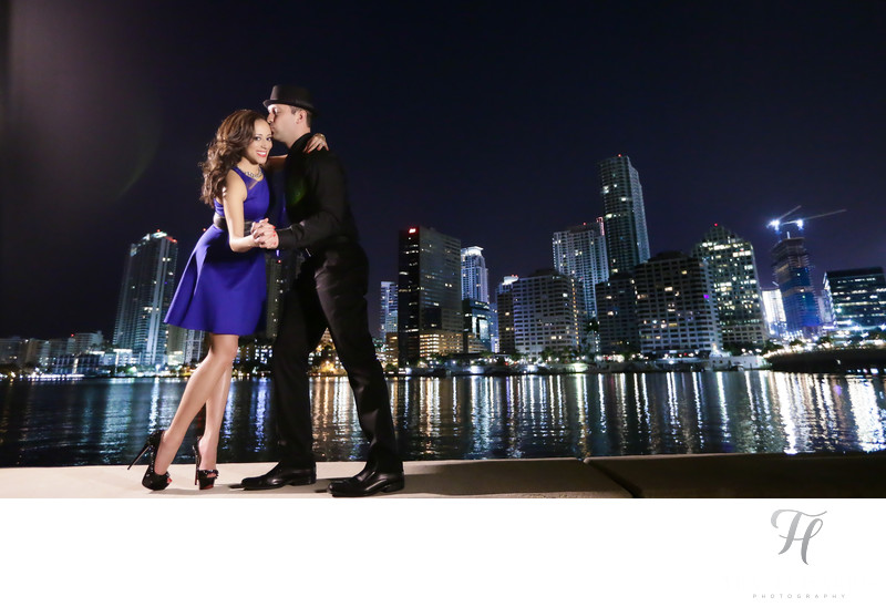 Night Engagement Photos Miami