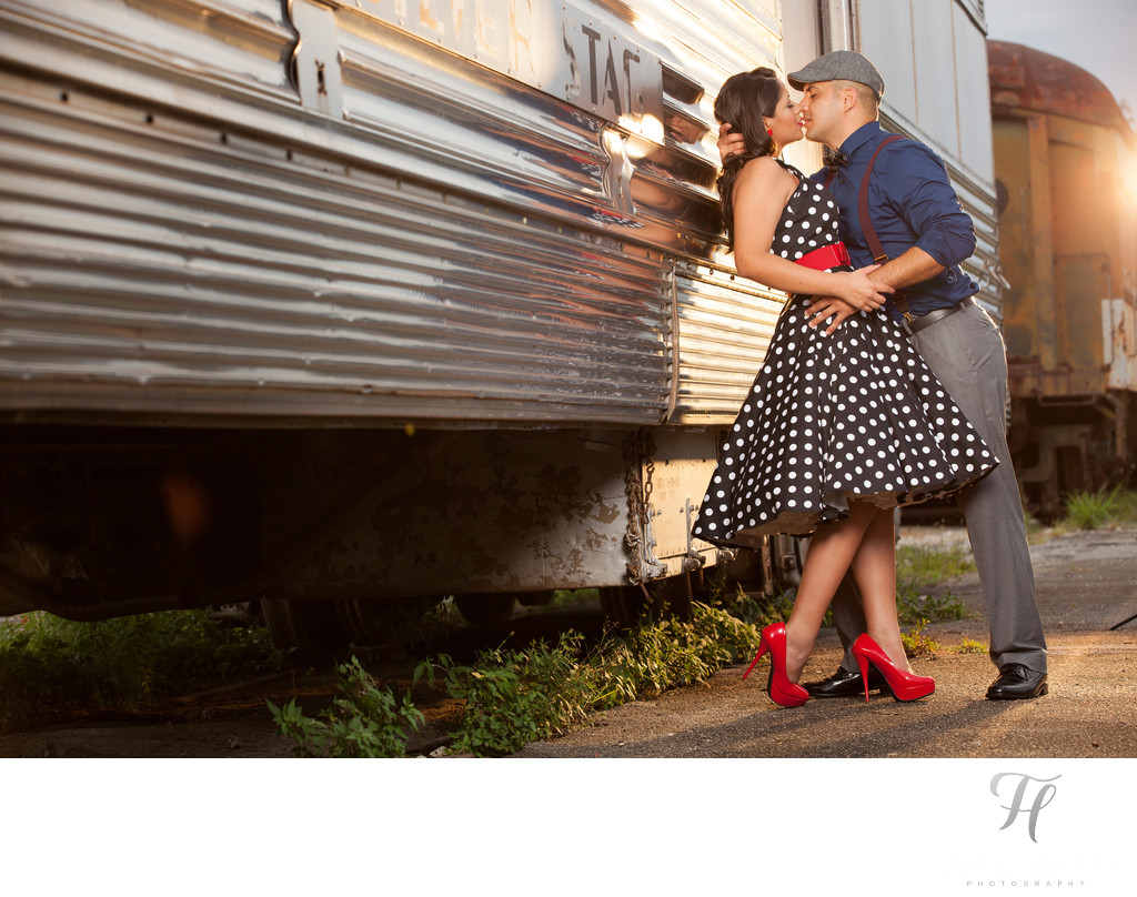 Miami Train Museum Engagement Photos