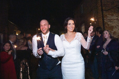 Sparkles in the darkness. Nighttime wedding photograph.