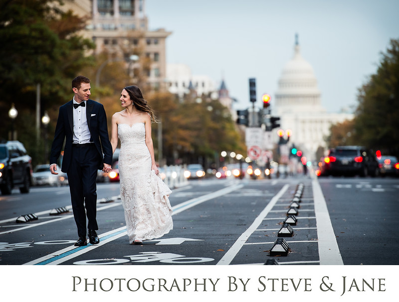 Washington DC Bride and Groom on Pennsylvania Ave