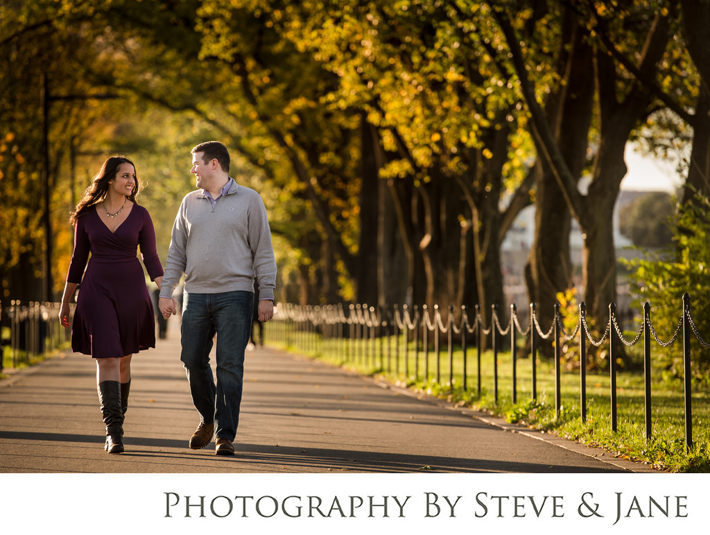 Fall engagement session on the National Mall in DC