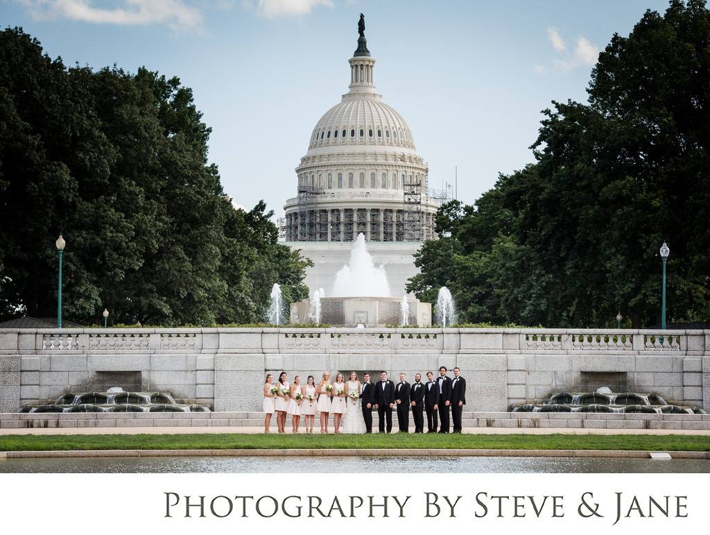 Senate Park Wedding Party Portraits Washington DC