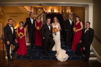 army navy country club wedding party stairs