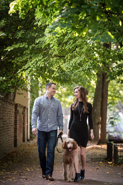 Georgetown Engagement Portraits with a dog