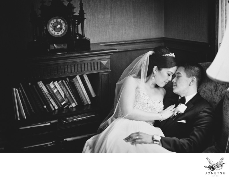 Vancouver Club wedding portrait in the library
