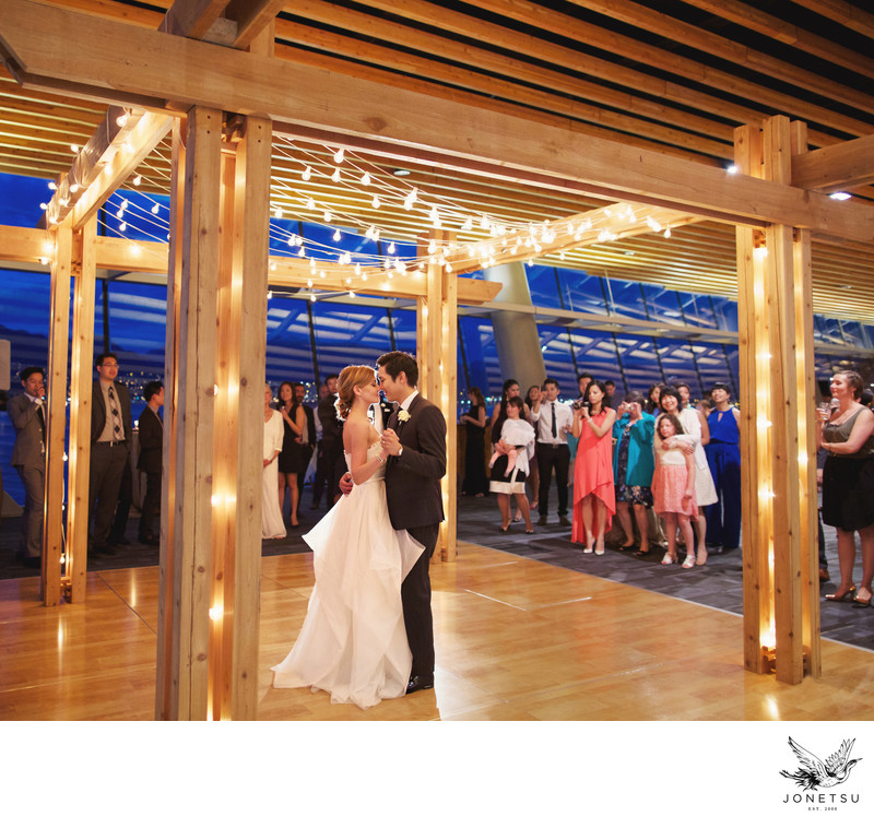 Dance under string lights Vancouver Convention Centre