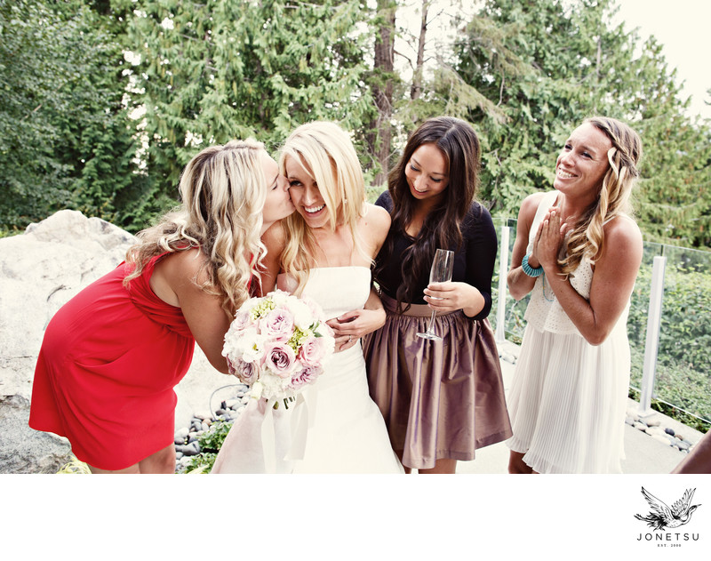 backyard estate wedding girlfriends congratulate bride