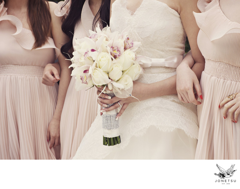 blush bridesmaids dresses and bouquet in Victoria