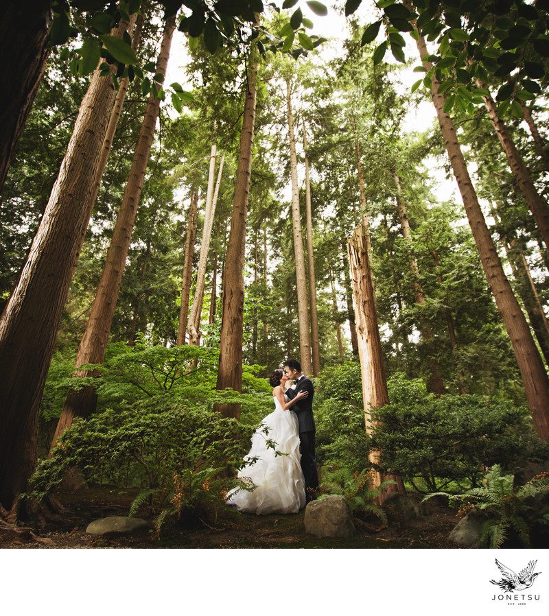Vancouver forest wedding portrait Vera Wang