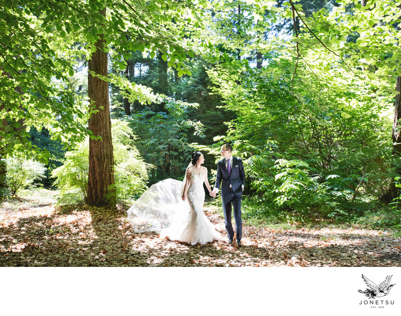 Stanley Park Pavilion wedding portrait in forest