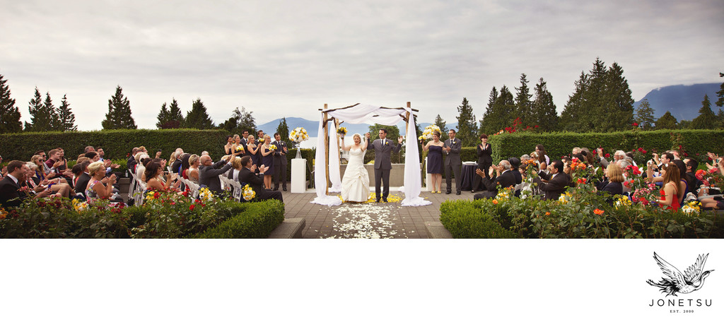 UBC Rose garden wedding ceremony panoramic
