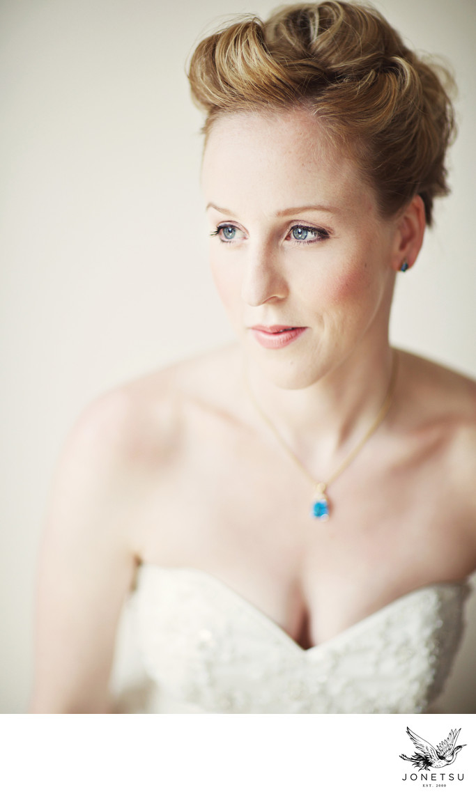 Bridal portrait window light film look Vancouver