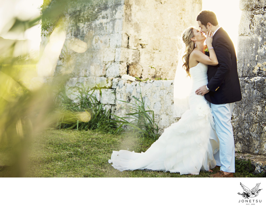 Jamaica wedding portrait at the aqueducts at sunset