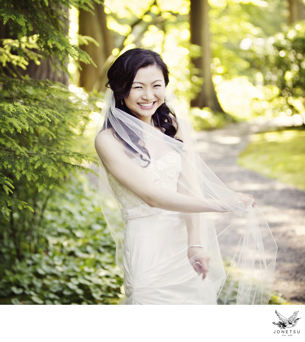 Vancouver bride portrait in the forest