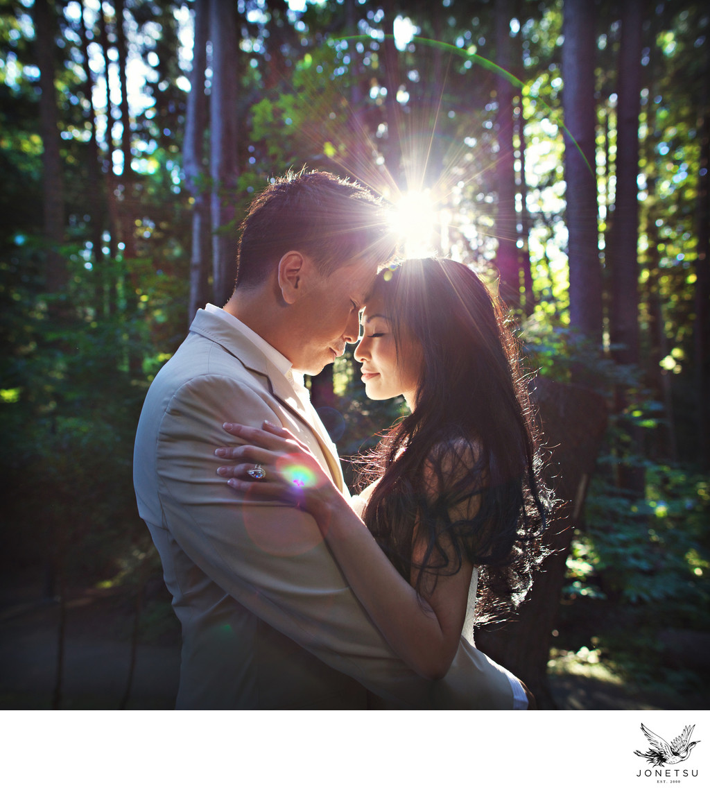 Vancouver forest UBC wedding portrait