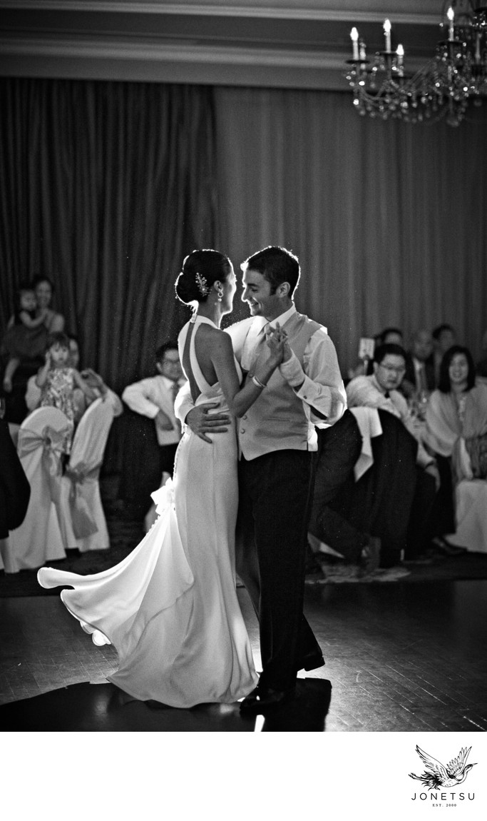 First dance black and white candid at TC Club