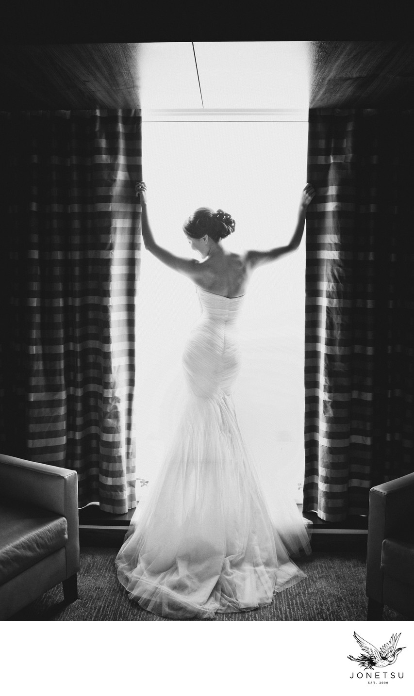 Luxury bridal gown portrait of bride in hotel room