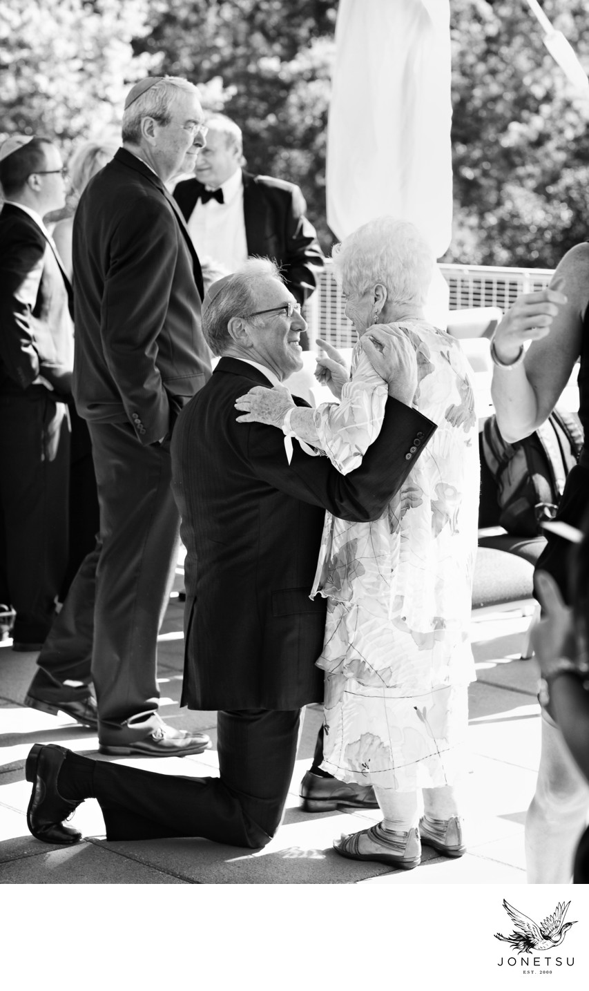 Sweet moment after jewish wedding with grandma momochrome