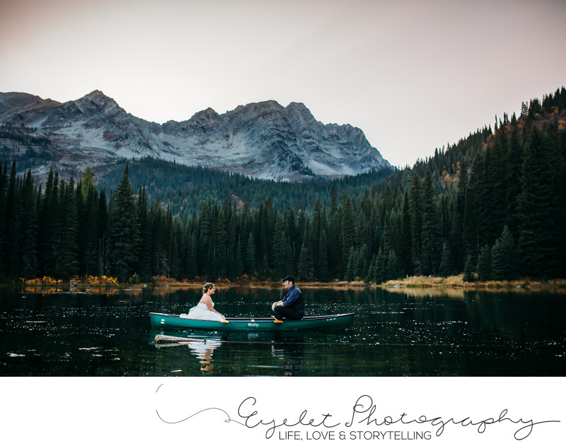 Wedding Portrait Photography Island Lake Lodge Fernie Canoe