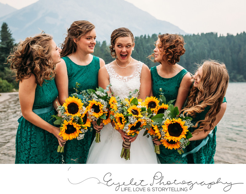 Wedding Photos Crowsnest Pass Sunflowers Bridal Party